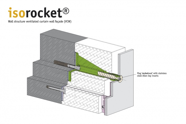 Structure of a suspended back-vented façade (VHF) with isorocket Concrete. Condition shortened with a seal (rocketseal)